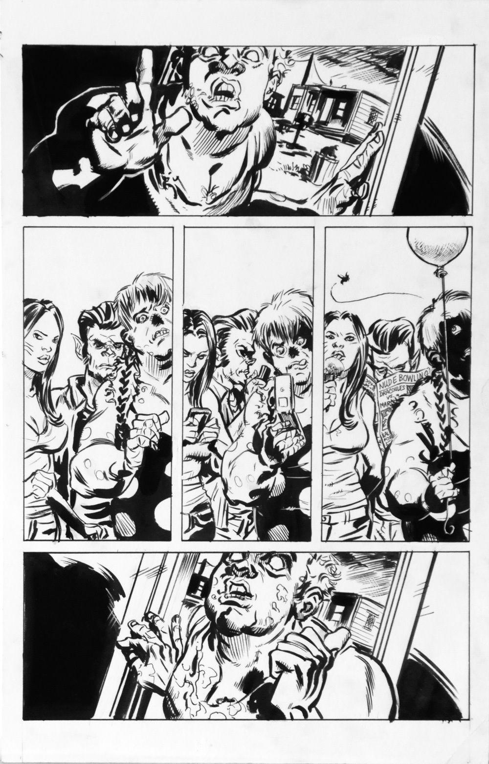 DEAN KOTZ Original Published Art, TRAILER PARK of TERROR #10 page 18, Zombies