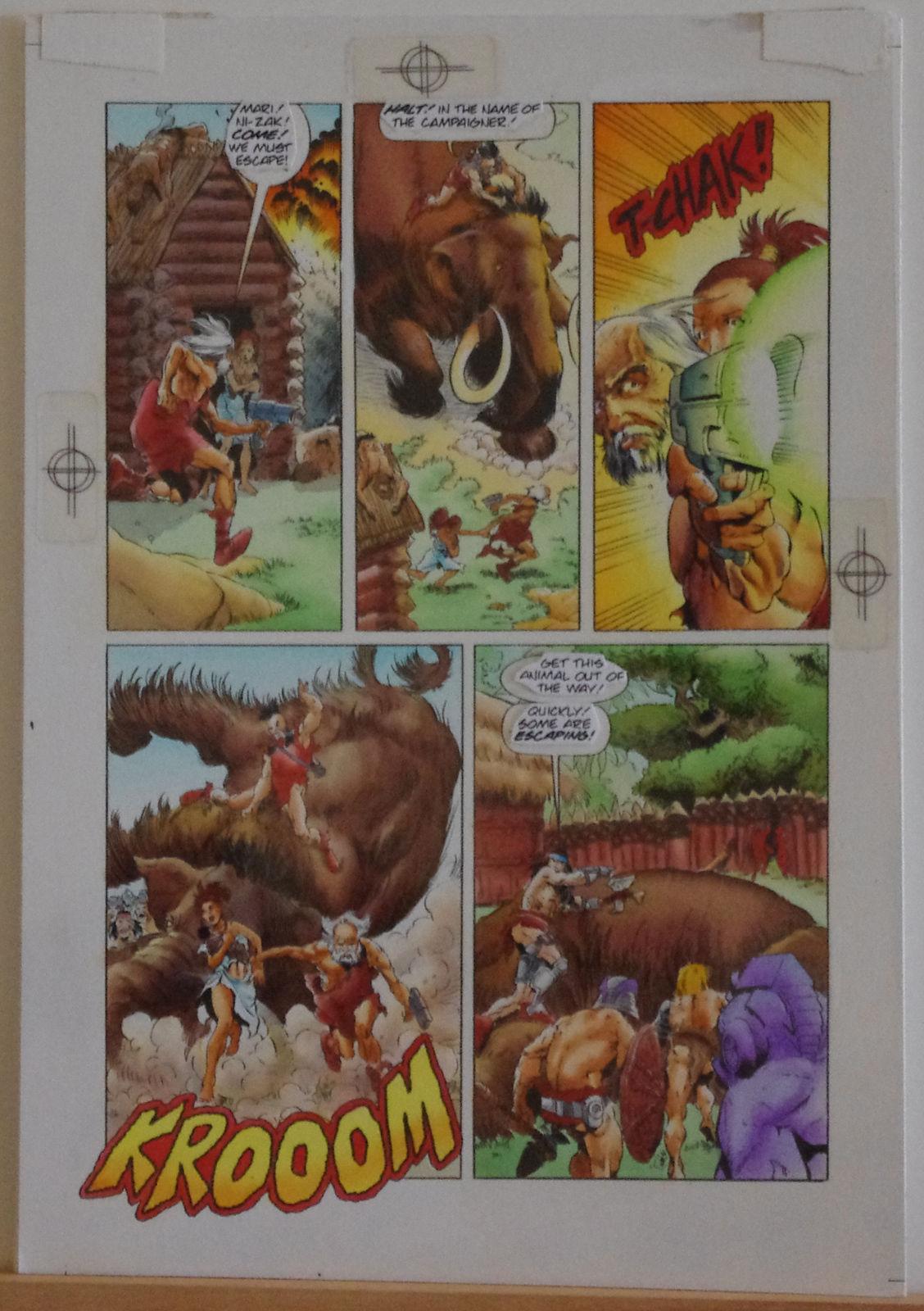 RAGS MORALES / KEN BRANCH original transparency art, TUROK, #24 pg 16, Battle