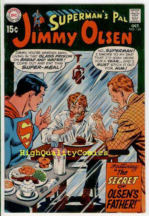 SUPERMAN'S PAL JIMMY OLSEN #124, Lost Dad, VF+ to NM, 1969,