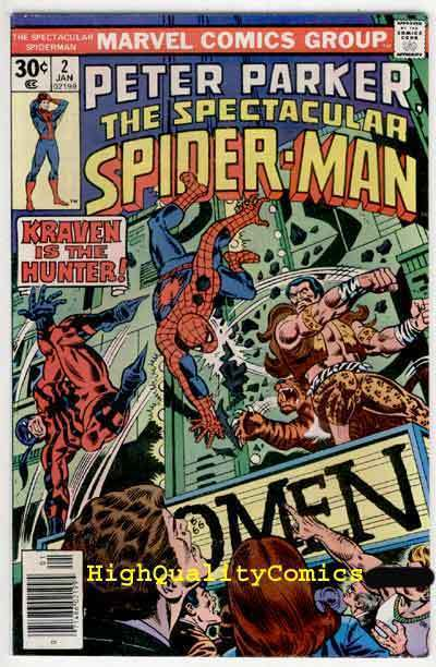 SPECTACULAR SPIDER-MAN #2, VF, Kraven, Tarantula, Sal Buscema,1976,more in store