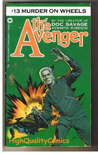 AVENGER 13,MURDER ON WHEELS pb, VG, Ken Robeson, 1973, Unread, more in store