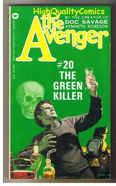 AVENGER 20,GREEN KILLER pb, FN-, Ken Robeson, 1974, Unread, more in store