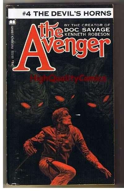 AVENGER 4, DEVIL'S HORNS pb, VG+, Ken Robeson, 1972, Unread, more in store