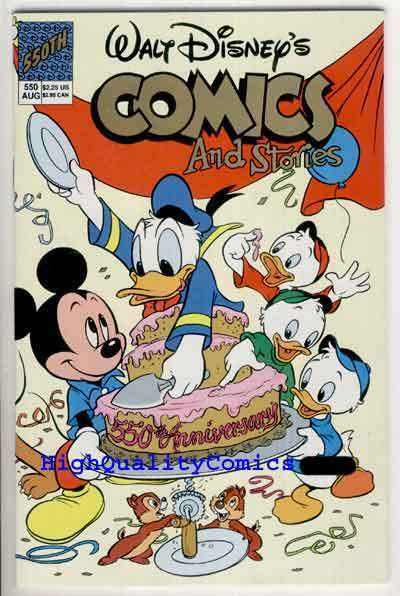 WALT DISNEY'S COMICS & STORIES 550, NM+, Anniversary, 1st, 1990, Donald Duck