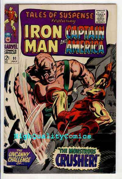 TALES OF SUSPENSE #91, Captain America, FN+, Iron Man, Crusher, Gene Colan, Kane