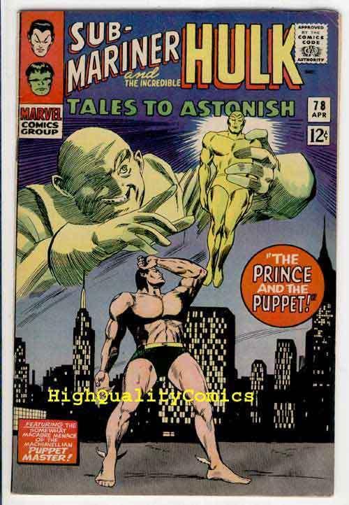 TALES TO ASTONISH #78, Hullk, Sub-Mariner,FN+, Jack Kirby, Bill Everette
