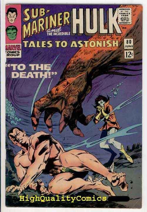 TALES TO ASTONISH 80, Hullk, Sub-Mariner, FN/VF, Jack Kirby, 1966,Bill Everette