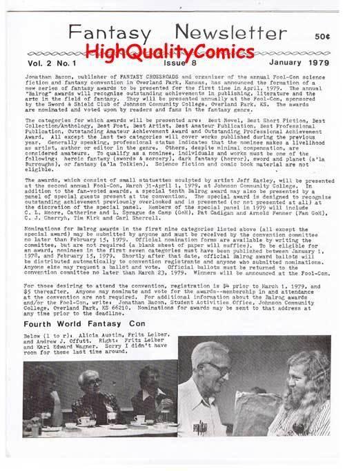FANTASY NEWSLETTER, Vol 2 #1 (#8), NM, January 1979, Rare