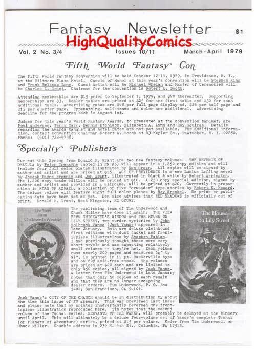 FANTASY NEWSLETTER, Vol 2 #3/4 (#10/11), NM, Mar/Apr 1979