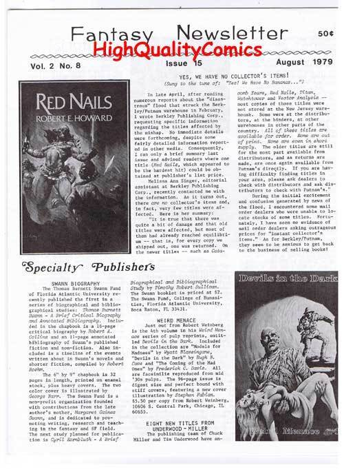 FANTASY NEWSLETTER, Vol 2 #8 (#15),  NM, August 1979, Rare