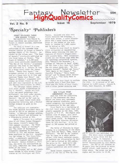 FANTASY NEWSLETTER, Vol 2 #9 (#16), FN, Sept 1979, Rare,