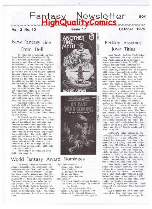 FANTASY NEWSLETTER,Vol 2 #10 (#17), NM, October 1979, Rare