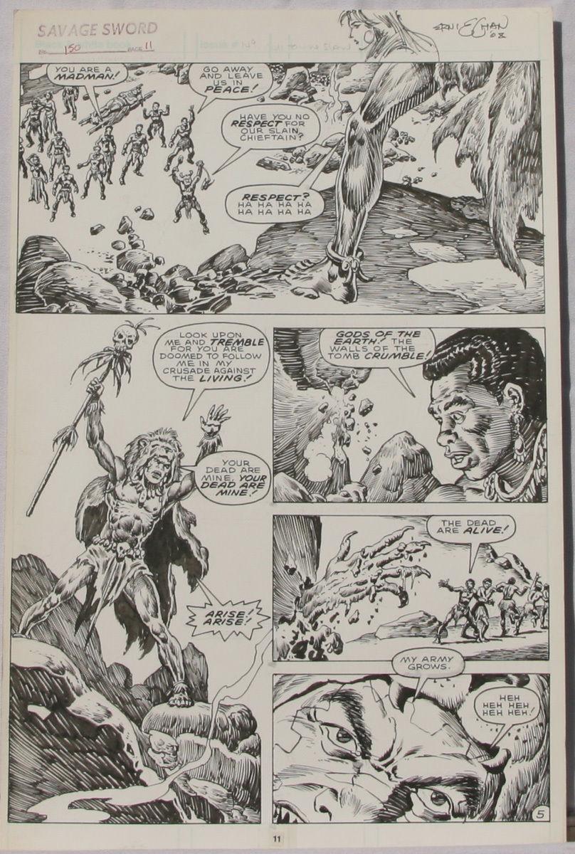 ERNIE CHAN Published Original Art SAVAGE SWORD of CONAN #150 pg 11, Signed