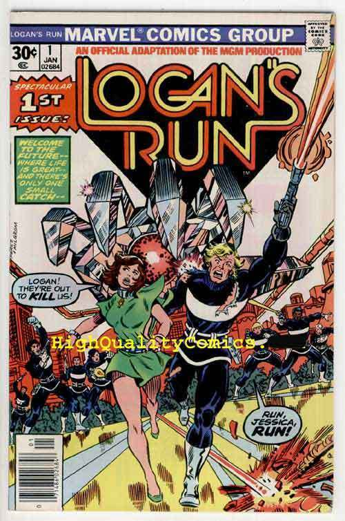 LOGAN'S RUN #1-2, Movie, Sci-fi, Perez, VF+ to NM, Future ,Cathedral Kill, 1977