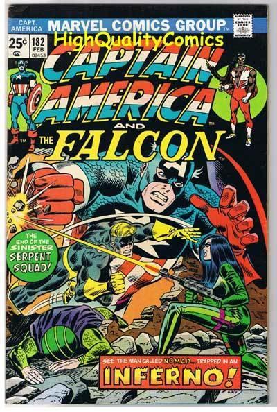 CAPTAIN AMERICA #182, FN/VF, Inferno, Falcon, Serpent, 1968, more CA in store