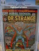 MARVEL PREMIERE 3, NM, CGC= 9.4, WP, Dr Strange, Barry Smith, Doctor, 1972